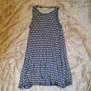 LOFT Sleeveless Swing Dress - Navy/Black Pattern